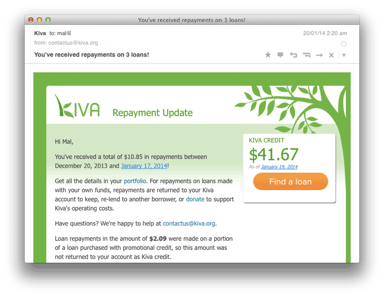 Kiva's obvious CTA
