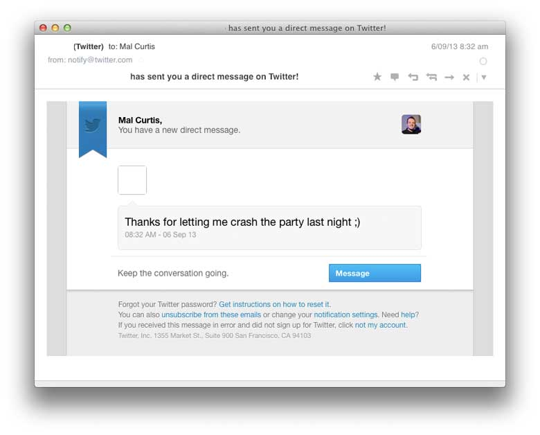 Twitter's Old DM Email